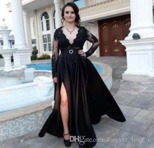 Classic Black European Designer V Neck Women Long Evening Dresses with Long Sleeves Indian Style Evening banquet Dress