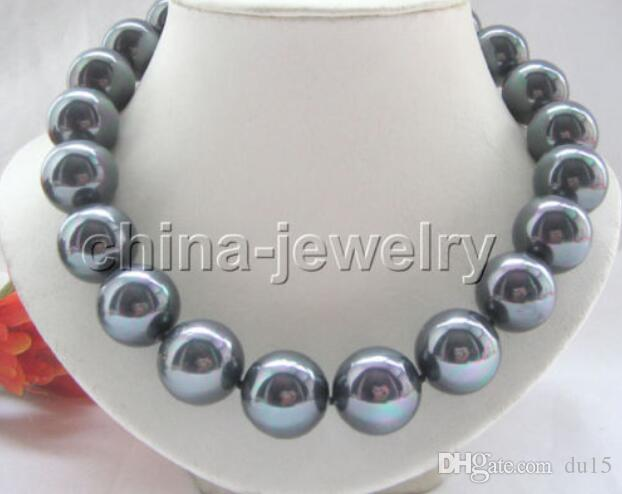 "Prett Lovely Women's Wedding FREE shipping> >>>18"" 20mm bright black south sea shell pearl necklace"