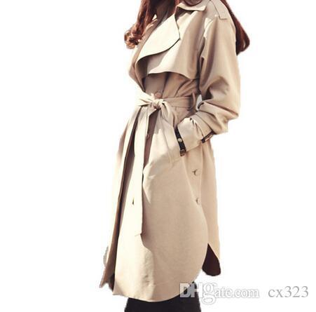 a90b00ba9 Nueva primavera otoño moda Casual mujer caqui gabardina larga prendas de  abrigo ropa suelta para dama con cinturón
