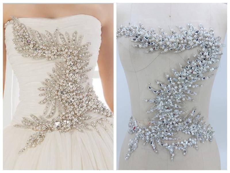 Acquista argento fatto a mano bianco cucire su strass perla