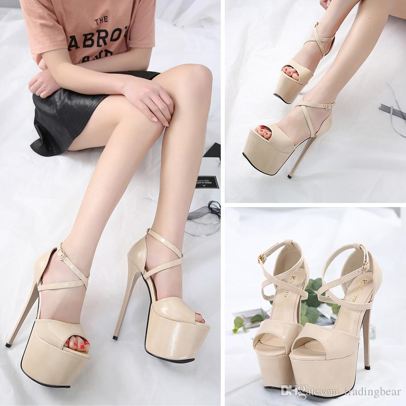 17cm Sexy black patent PU leather ultra high heel platform pumps women designer shoes size 34 to 39