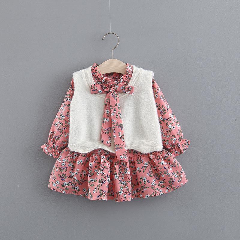 2019 Primavera Autunno nuovo modo del bambino bambini delle neonate floreale abito a manica lunga + Gilet 2 pezzi Outfits vestiti Set 0-6T