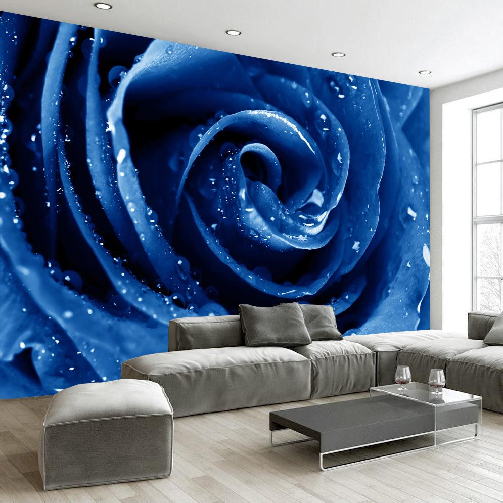 Flower 3D Wallpaper Custom Mural Non Woven Wall Paper High Quality Red Blue Rose Living Room Bedroom Home Decor Modern Mobile Download