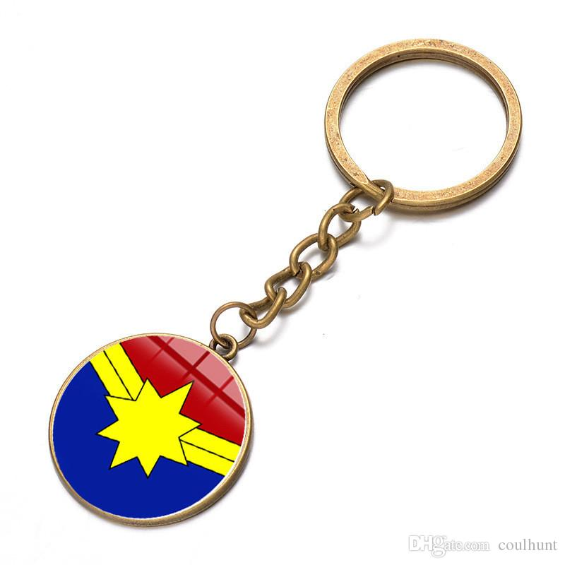 Movie Captain Marvel Logo Keychain 2019 New Cool Cartoon Metal Avengers Superhero Carol Danvers Charms Key Chains for Men and Women