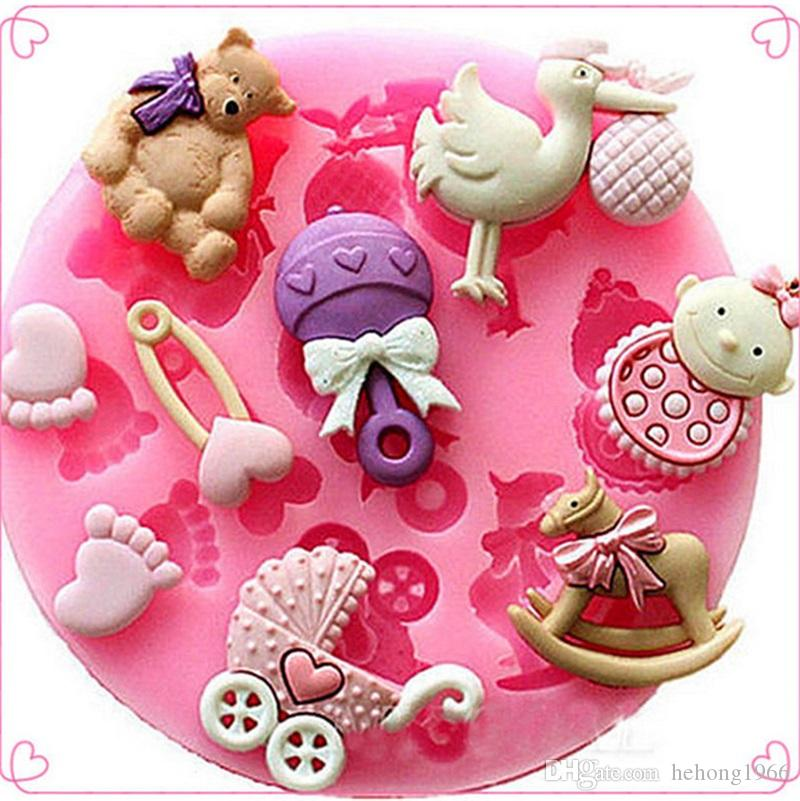 Flamingo round Gel Soap Molds Pink Baby Silica Cake Mould Food Grade Can Put Feet Baking Products Oven Appliance Manual DIY 2 4amb1