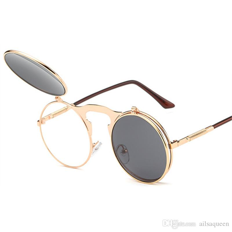 58d588e22e Vintage Steampunk Sunglasses Women Round Metal Frames Flip Up Sun Glasses  Men Brand Designer Retro Eyewear UV400 Bolle Sunglasses Electric Sunglasses  From ...