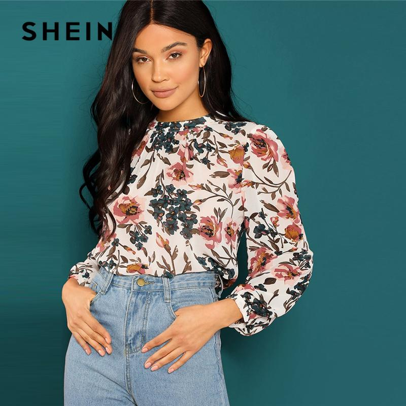 01574c04aa6c63 2019 SHEIN Multicolor Allover Botanical Pleated Front Keyhole Back Top  Casual Floral Stand Collar Long Sleeve Women Autumn Blouses From Aprili, ...