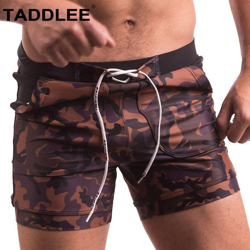 5c5d6e3ef3 2019 Taddlee Brand Sexy Men'S Swimwear Swimsuits Swim Boxer Briefs Bikini  Gay Penis Pouch Surfing Board Trunks Camo Pockets Shorts From Numero, ...