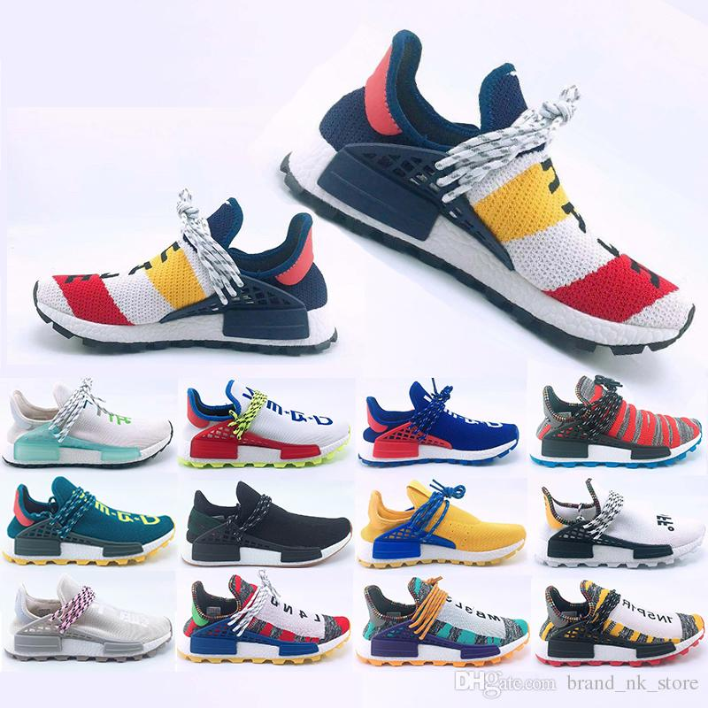 2019 New Human Race Hu trail casual Shoes Men Women Ivory Pharrell Williams Yellow noble ink Black Red Designer Sports Trainer Sneakers
