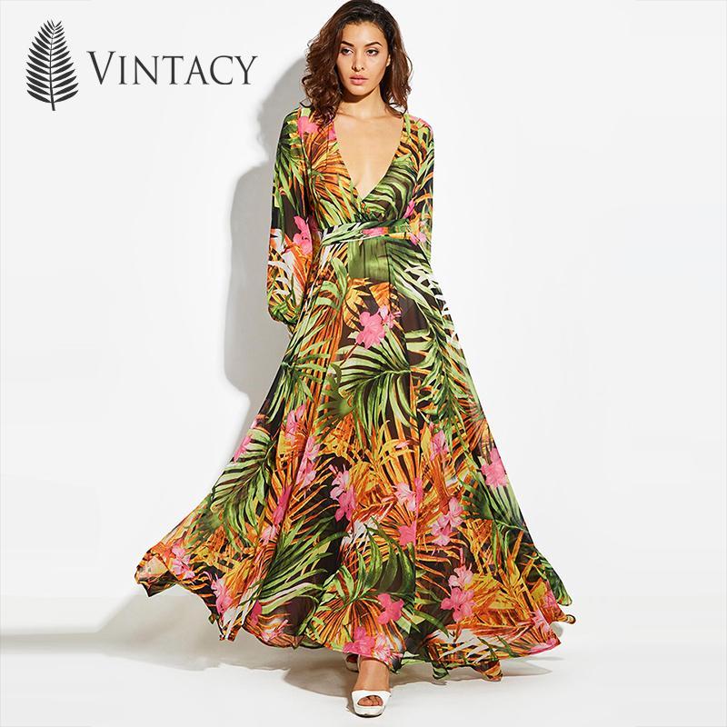 f2dfa483f88 2019 Vintacy 2018 Fashion Women Summer Maxi Beach Dress Green V Neck Long  Dresss Bohemian Lantern Sleeve Boho Dress Femal Party Dress Y19012201 From  Tao02