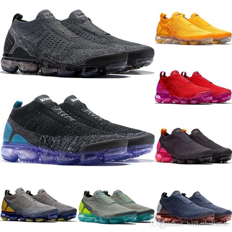 4ed8a8f9e Compre Novo 2018 Sapatos De Grife Moc 2 Laceless 2.0 Tênis De Corrida  Triplo Preto Branco Fly Malha Sports 2019 Treinadores Almofadas Sneakers 36  45 De ...