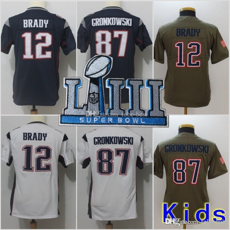 2019 Youth 2019 Super Bowl LIII New Jerseys 12 Tom Brady Patriots 87 Rob  Gronkowski Blue White White Superbowl Patch Stitched Kids From Tobe Best b0f38507c