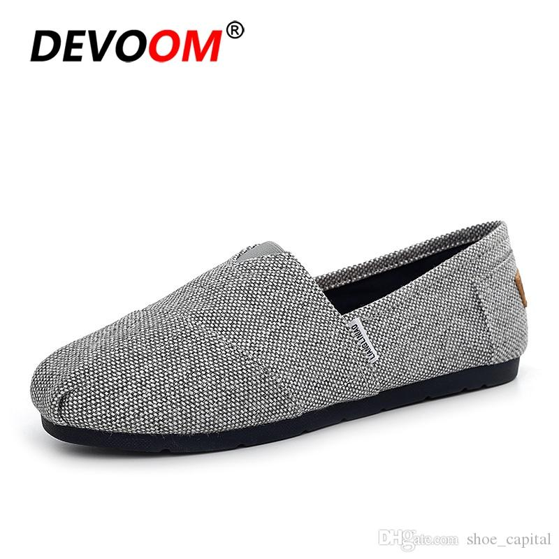 2734f7a16cf New 2018 British Style Slip On Mens Loafers Student Canvas School Flat Shoes  For Man Breathable Adult Home Casual Footwear Trend  55179 Moccasins Boat  Shoes ...