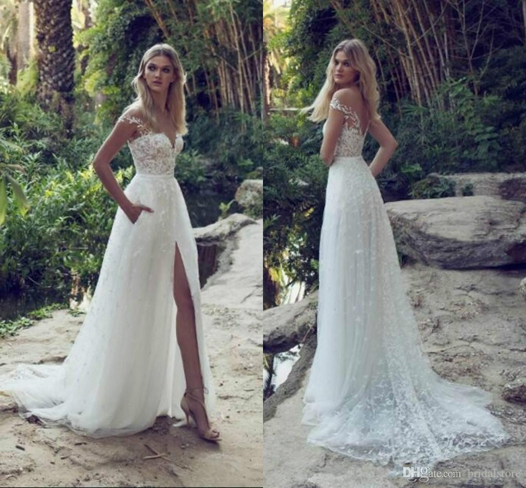 1a809e9fbe85 Discount Limor Rosen Summer Country Wedding Dresses Off The Shoulders Lace  Cheap Boho Wedding Dress Backless Front Slits Bridal Gowns With Pockets  Vintage ...