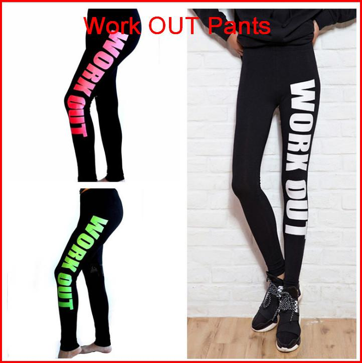 Work out Leggings Jogging Cotton Materials Printed Words Yoga Pants Sports Leggings Fashion Fitness Pencil Pant Tights Jeggings ouc031