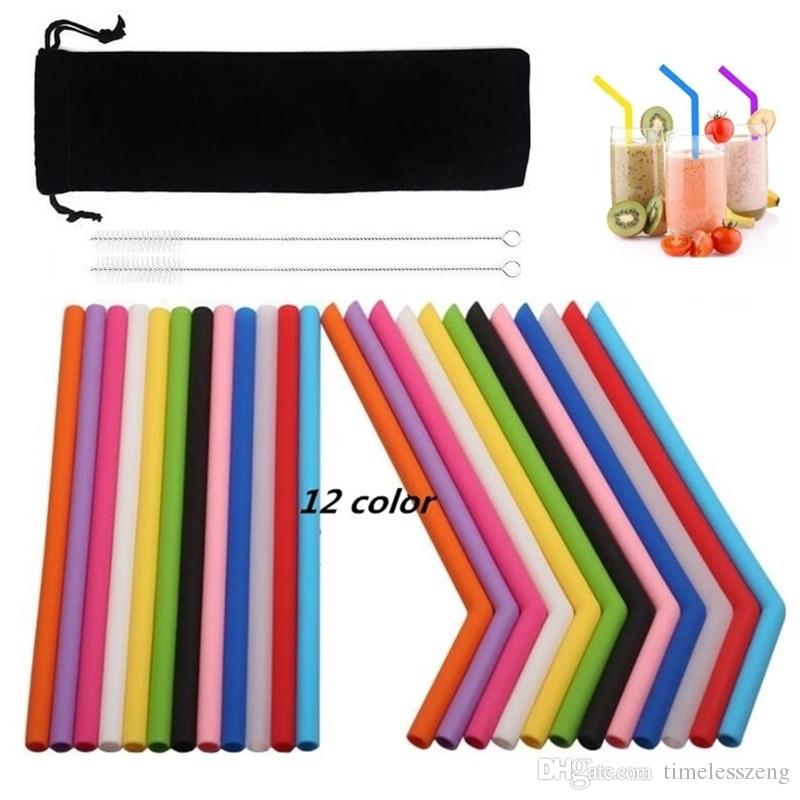 25CM Colorful silicone straw straight and bend food grade drinking straw reusable eco-friendly straws cleaning brush bar drinking tools