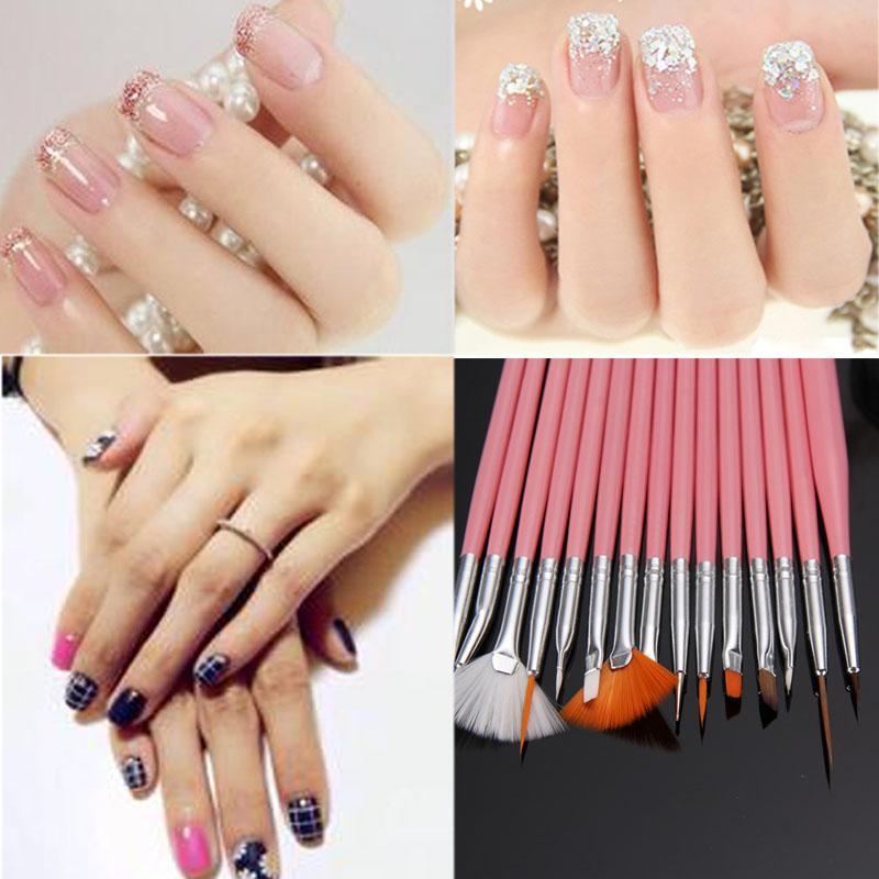 15 Pcs Set 3d Nails Painting Pen Brushes Nail Art Decorations Uv Gel Polish Design Brush Set Manicure Tips Tools Free Ship Kits