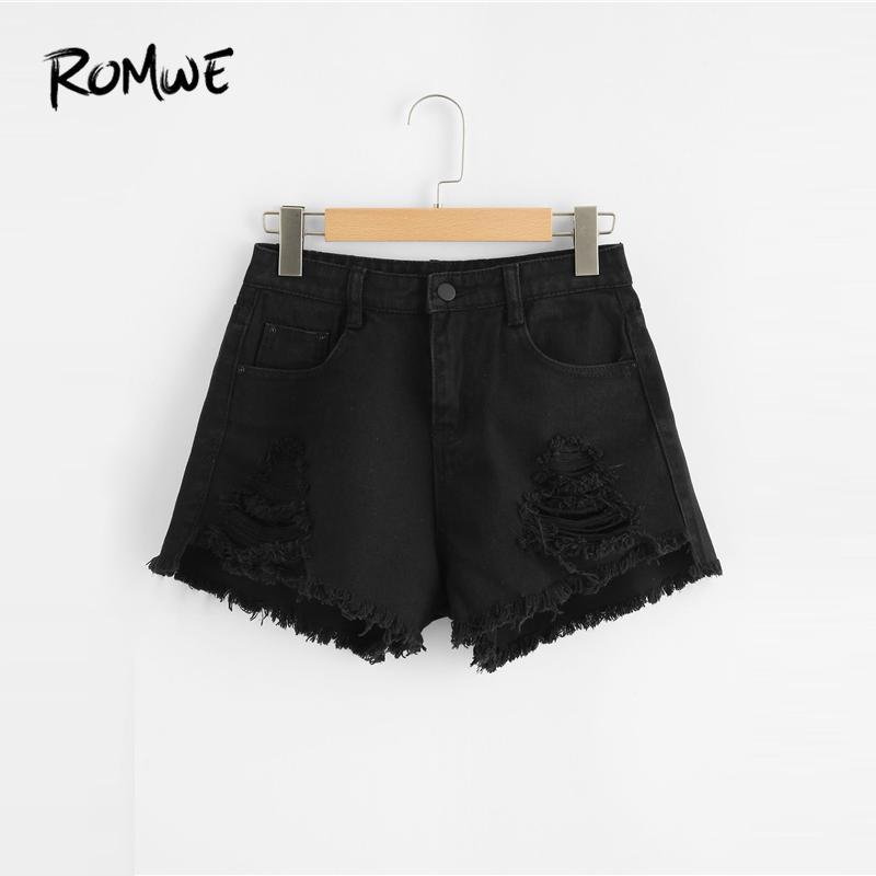 Glamorous Ripped Negro Fly Fashion Shorts Edge Mediados Cintura Frayed Verano Botón 2019 Bolsillos Mujer De Denim CtdhrsQx