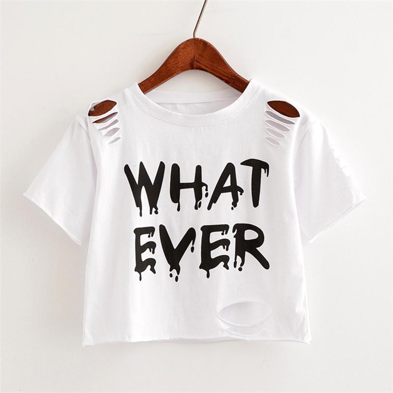 8ab04e203e7ea MERRY PRETTY New T Shirt Women Crop Tops Harajuk Crew Neck Short ...