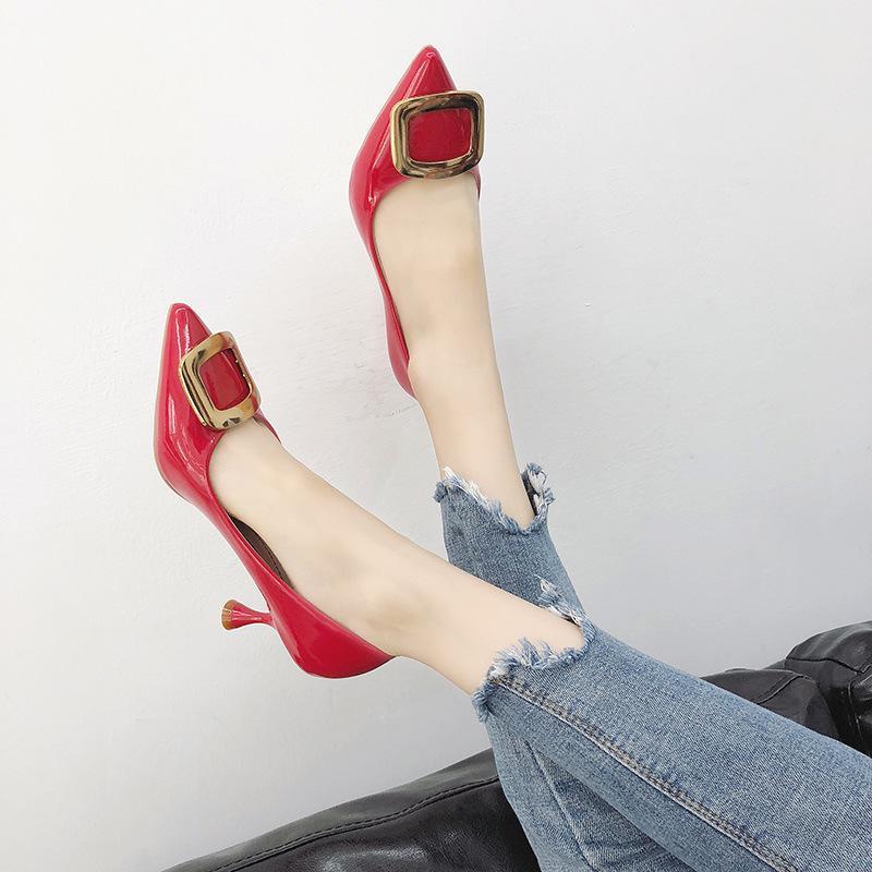 e7799b4dcc1ade Großhandel Mode Schuhe 2018 Frauen Schuhe Frauen Leder Clogs Hochzeit Heels  Italienische Hausschuhe Pumpt Stilettos Schnalle Riemen Rote Böden Von ...