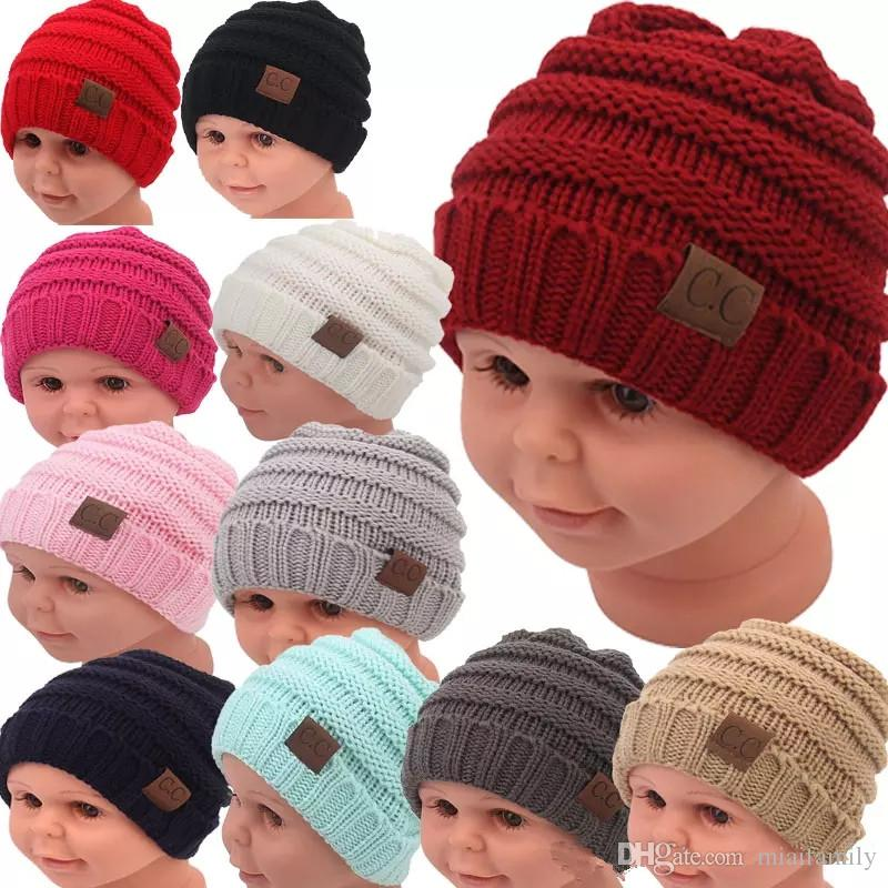 b19a5a75543 Kids Winter Keep Warm Cc Beanie Labeling Hats Wool Knit Skull Designer Hat  Outdoor Sports Caps for Baby Children Kid 2018 Fashion Kids Hat Hats Sports  Caps ...