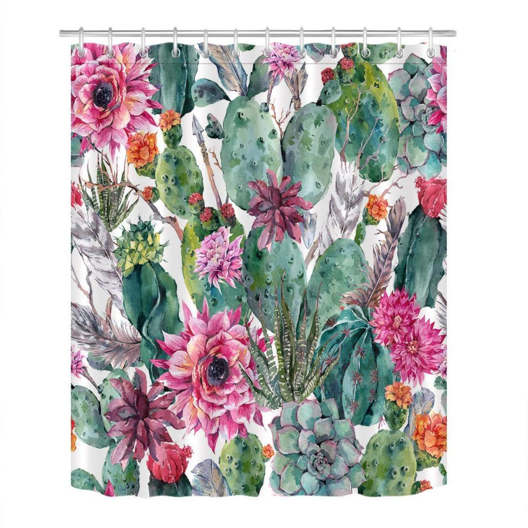 2019 Plant Cactus Decoration Shower Curtain 3D Resistant Waterproof Cacti Succulent Red Flower Bathroom Bath Curtains From Raymonu 2807