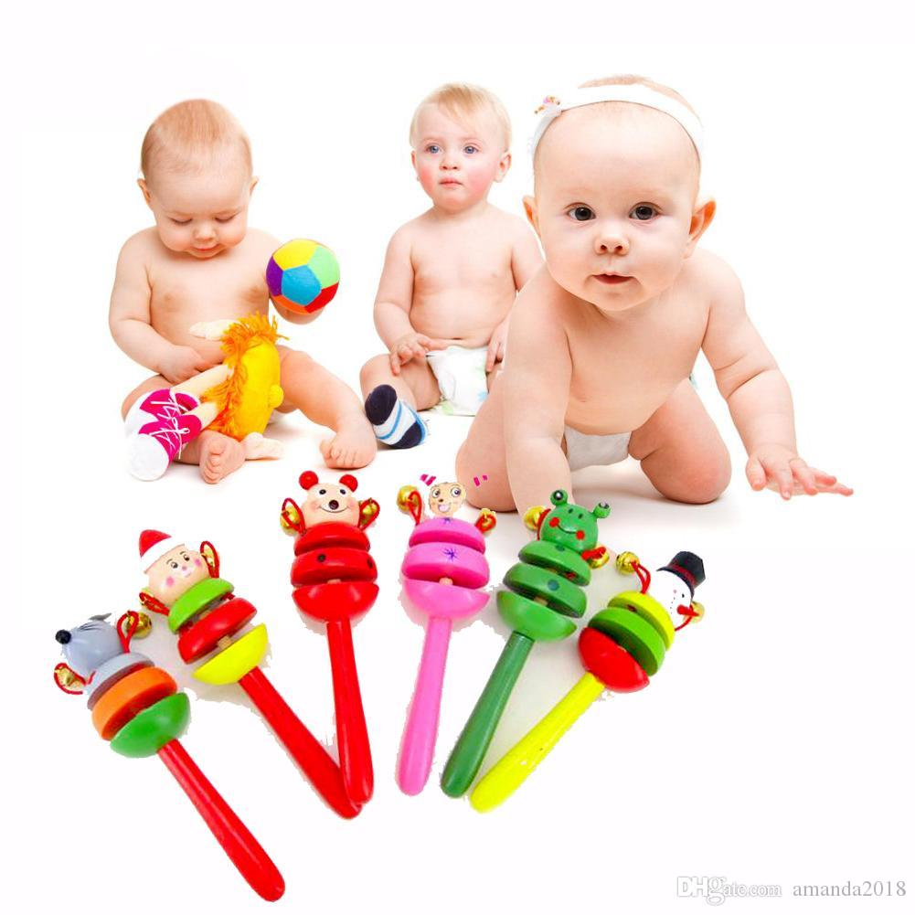 Baby Toys Rattles Wooden Activity Bell Stick Shaker Baby Toys for Newborns Children Mobiles Rattle Baby Toy Random