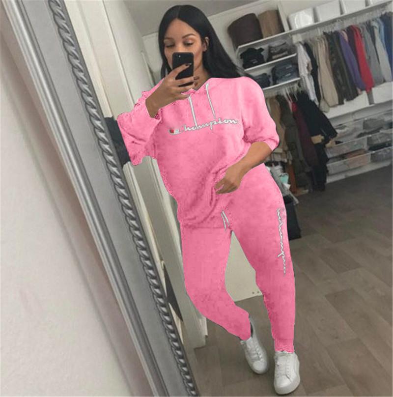 59a24746a7da Women Champions Letter Print Fashional Tracksuit Long Sleeve T Shirt Top +  Pants Leggings 2PCS Set Outfit Sportswear Clothes Suit Hot Sales
