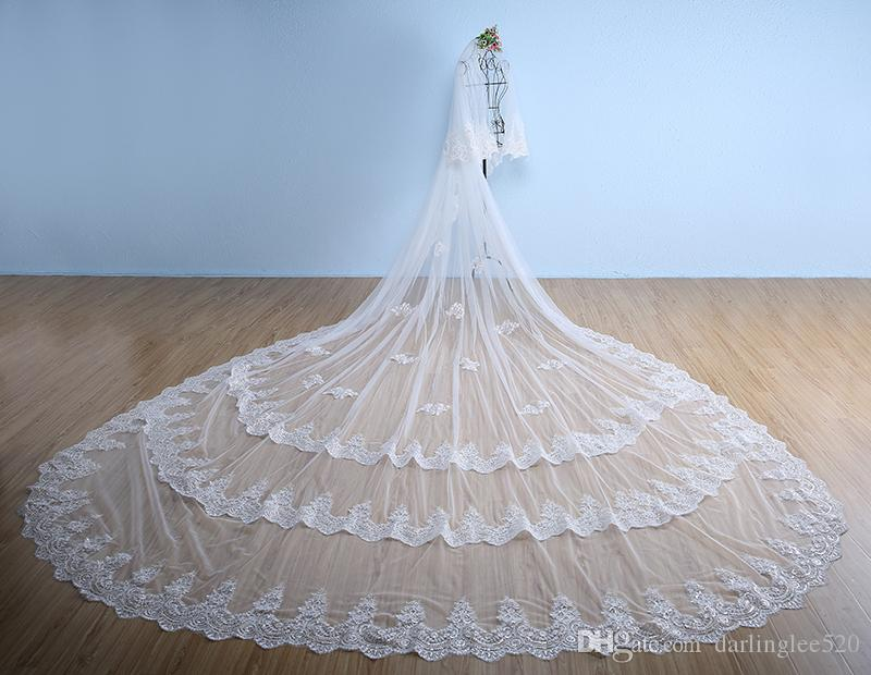White wedding veils ivory cathedral length polyester applique edge 5