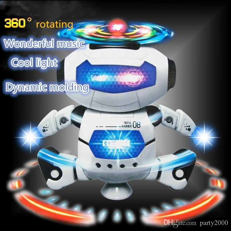 Electric Toys Dance Rotating Robot with LED Lights Music Explosion Intelligence Toy with Battery Powered Direct China Wholesales