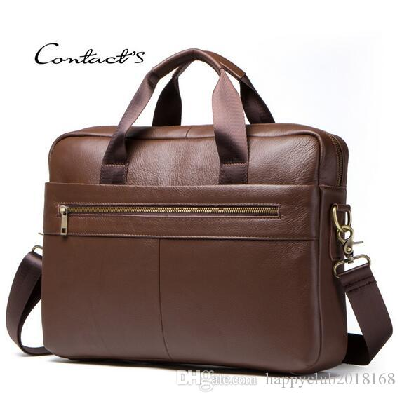 221318e3aaf 2019 new AliExpress boss brand real leather men s laptop business briefcase  first layer leather men s bag shoulder bag