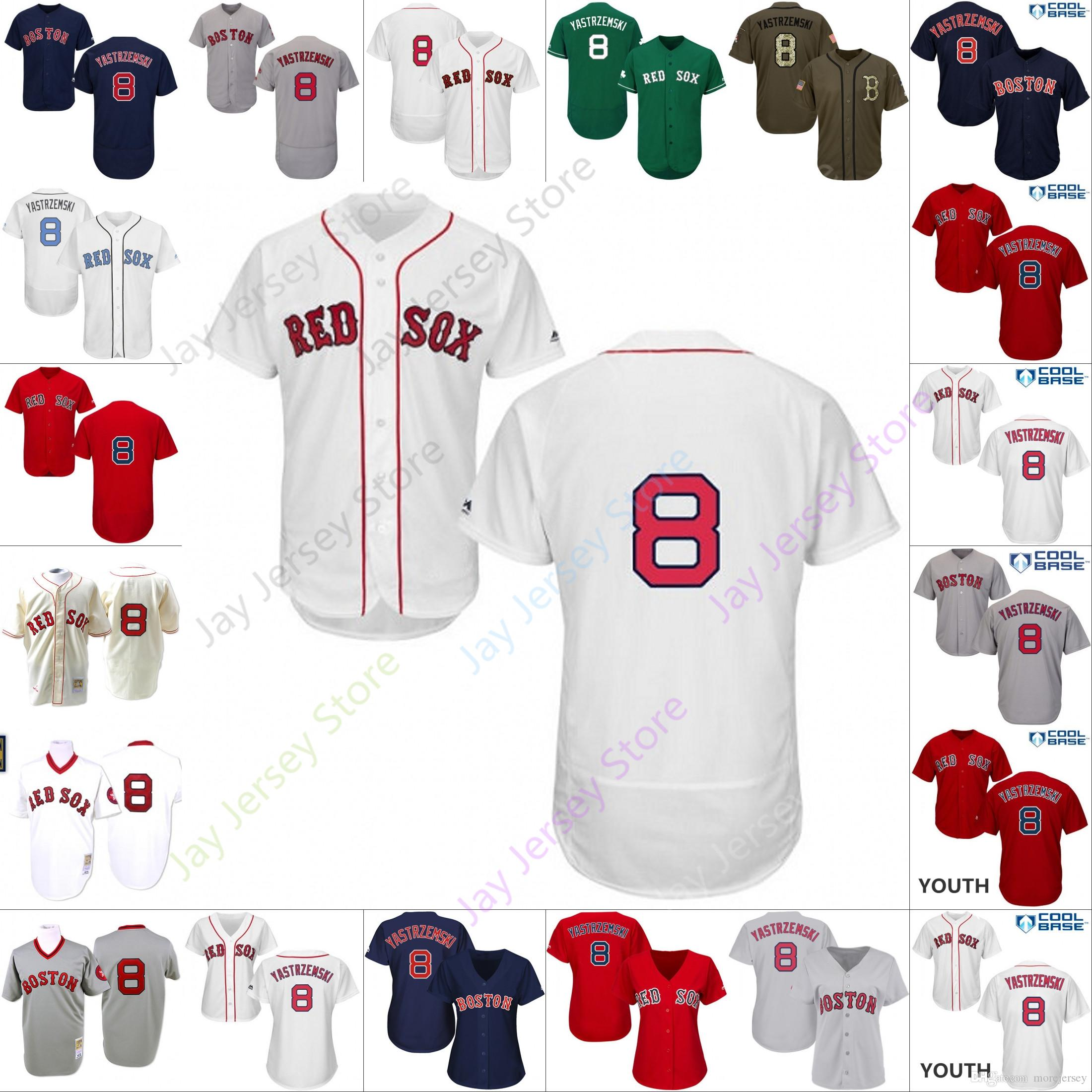 huge discount f6bfa 9b76a 2019 Boston 8 Carl Yastrzemski Jersey Red Sox Jerseys Men Women Youth Cool  Base Flexbase Home Away White Black Red Grey Pullover Button