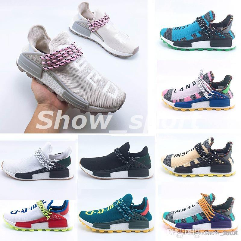 dfd4853c51222 2018 Homecoming Creme X NERD Solar PacK Human Race Running Shoes Pharrell  Williams Hu Trail Trainers Men Women Runner Sports Sneakers 36 47 Running  Shoes ...