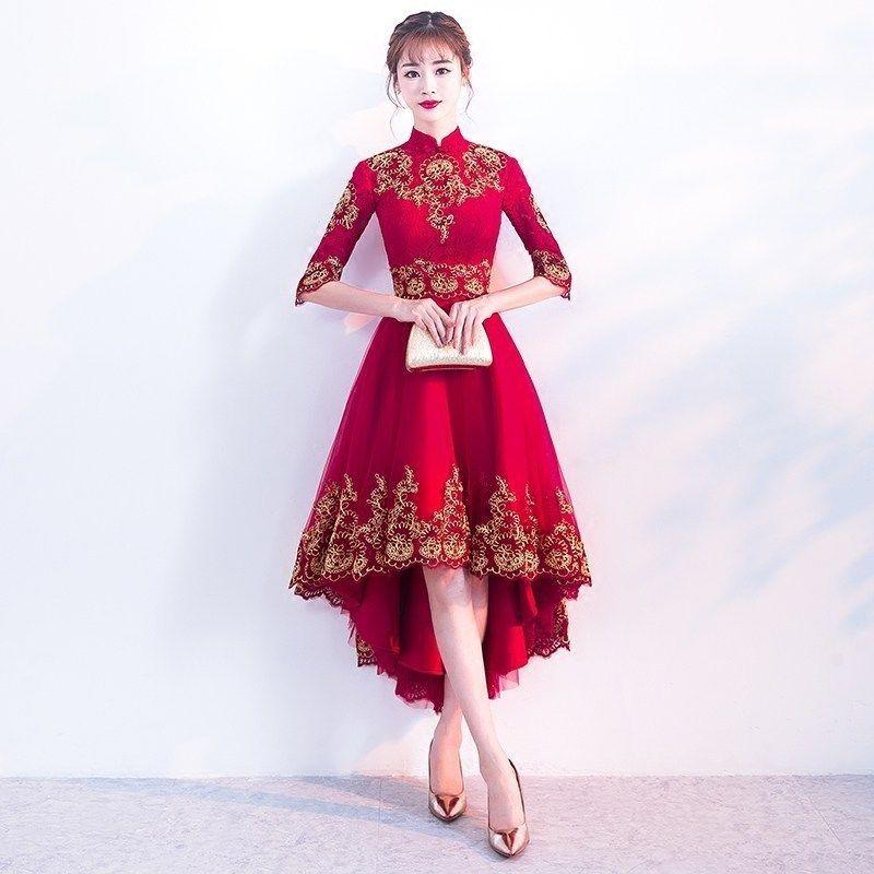 1fc1f965e3 Compre Rojo Cheongsam Vestido De Encaje Sexy Boda Qipao Mujeres Traje De  Año Nuevo Chino Tradicional Estilo Oriental Vestidos De Noche Qi Pao  C18122701 A ...