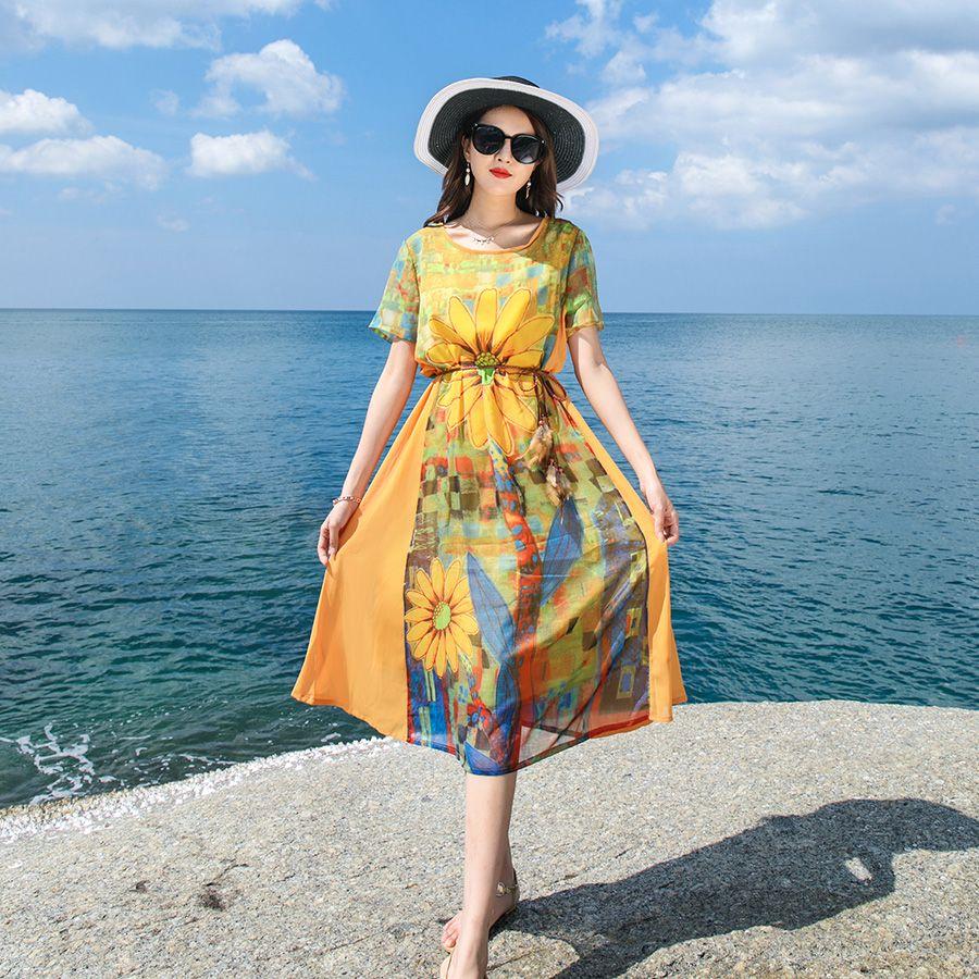 27166e5180 Kaftan Dress 2019 Yellow Sunflower Print Chiffon Loose Casual Plus Size  Slim Bohemian Fashion Summer Daily Unique Baggy Dresses Formal Evening  Dresses ...