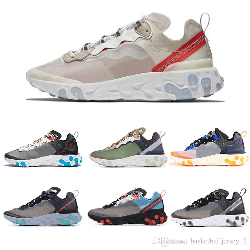 a4512d427bea Epic React Element 87 55 Undercover Men Running Shoes For Women Designer  Sneakers Sports Mens Trainer 55s 88s Sail Light Bone Sneakers 36 45 Por ...