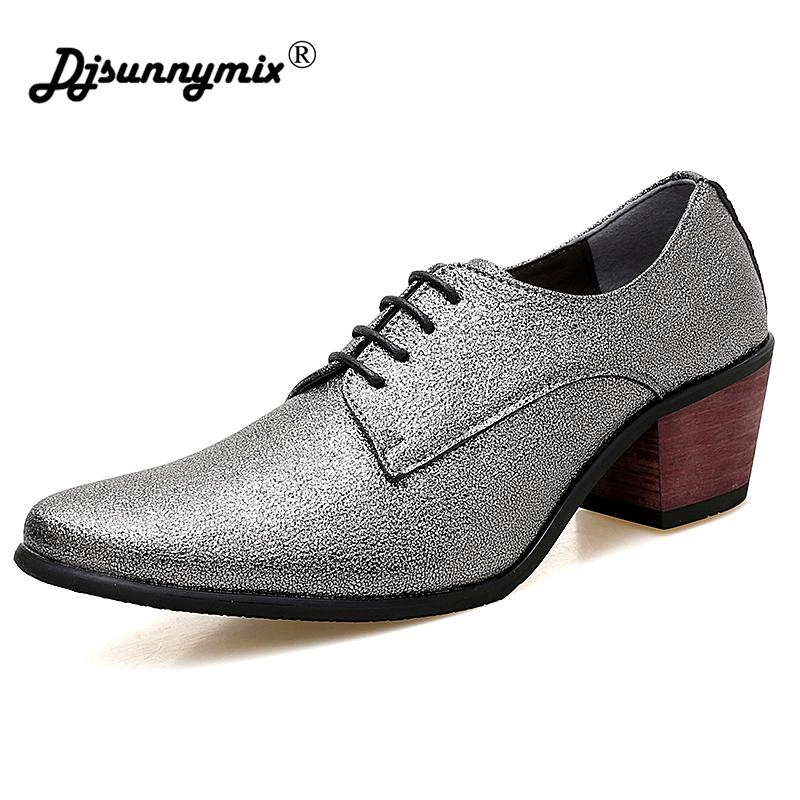 42bed9c320e1 DJSUNNYMIX Brand New Arrival Men Dress Shoes Designer Younger Pointed Toe  High Heels Wedding Shoes Man Lace Up Trend Shoes Summer Shoes Womens  Loafers From ...