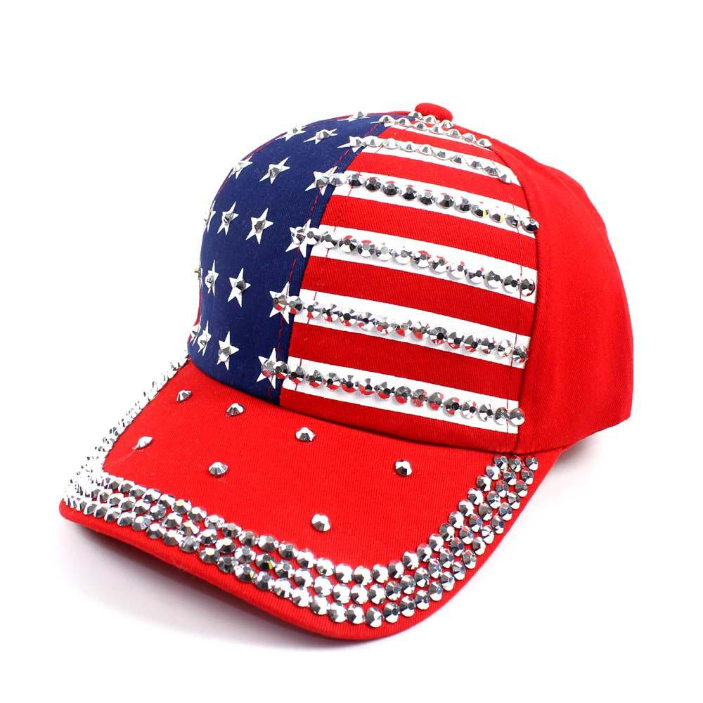 Couple Summer United States Flag Baseball Cap Women Men Diamond Snapback Caps adjustable Hip Hop Hats women red cotton dad hat