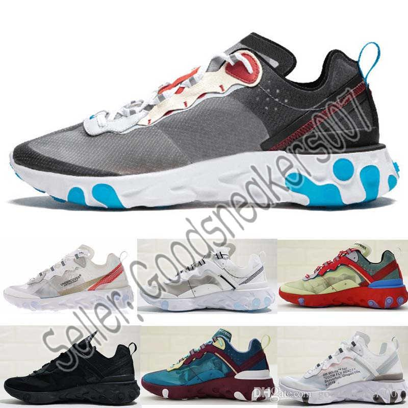 640c29fc46e3 2019 Epic React Element 87 Undercover Men Running Shoes For Women Designer  Sneakers Sports Mens Trainer 55s 88s Sail Light Bone Sneakers With Box From  ...