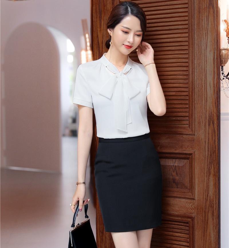 a0beae22d Trajes de negocios formales con falda y tops Estilos uniformes Blanco  elegante 2019 Primavera verano Oficina Conjunto de blusas y camisas para  mujer