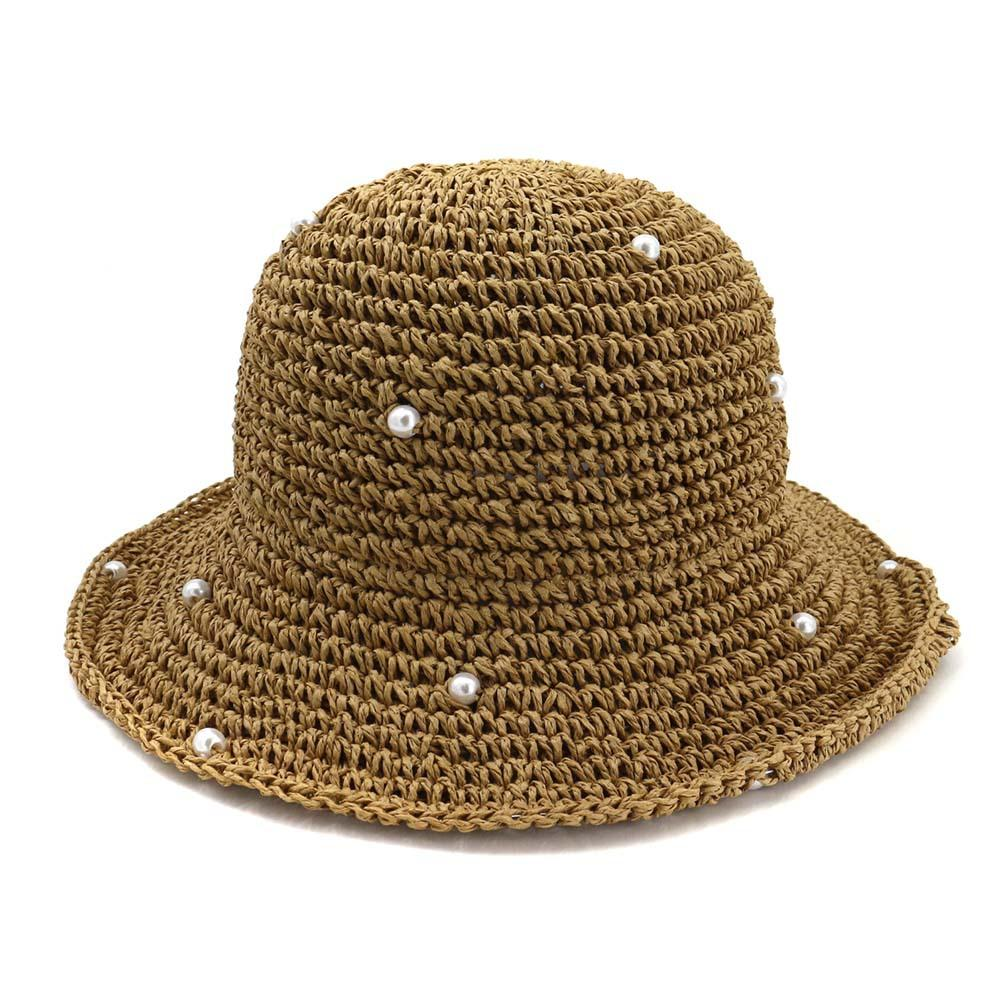 a8069f822334d 2019 Summer Handmade Crochet Pearl Straw Hat Female Foldable Dome Wild  Solid Color Bucket Hat Scrub Hats Mens Hat From Splendone