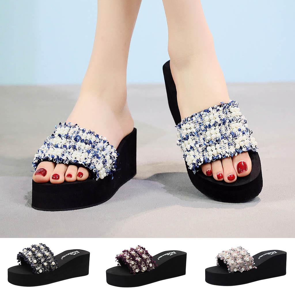 84f1c0eb0 2019 Women S Sequins Slippers Ladies Summer Beach Casual Shoes Girls Fashion  High Heel Wedges Bohemian Style Slipper Platform Leather Boots Cheap Boots  From ...