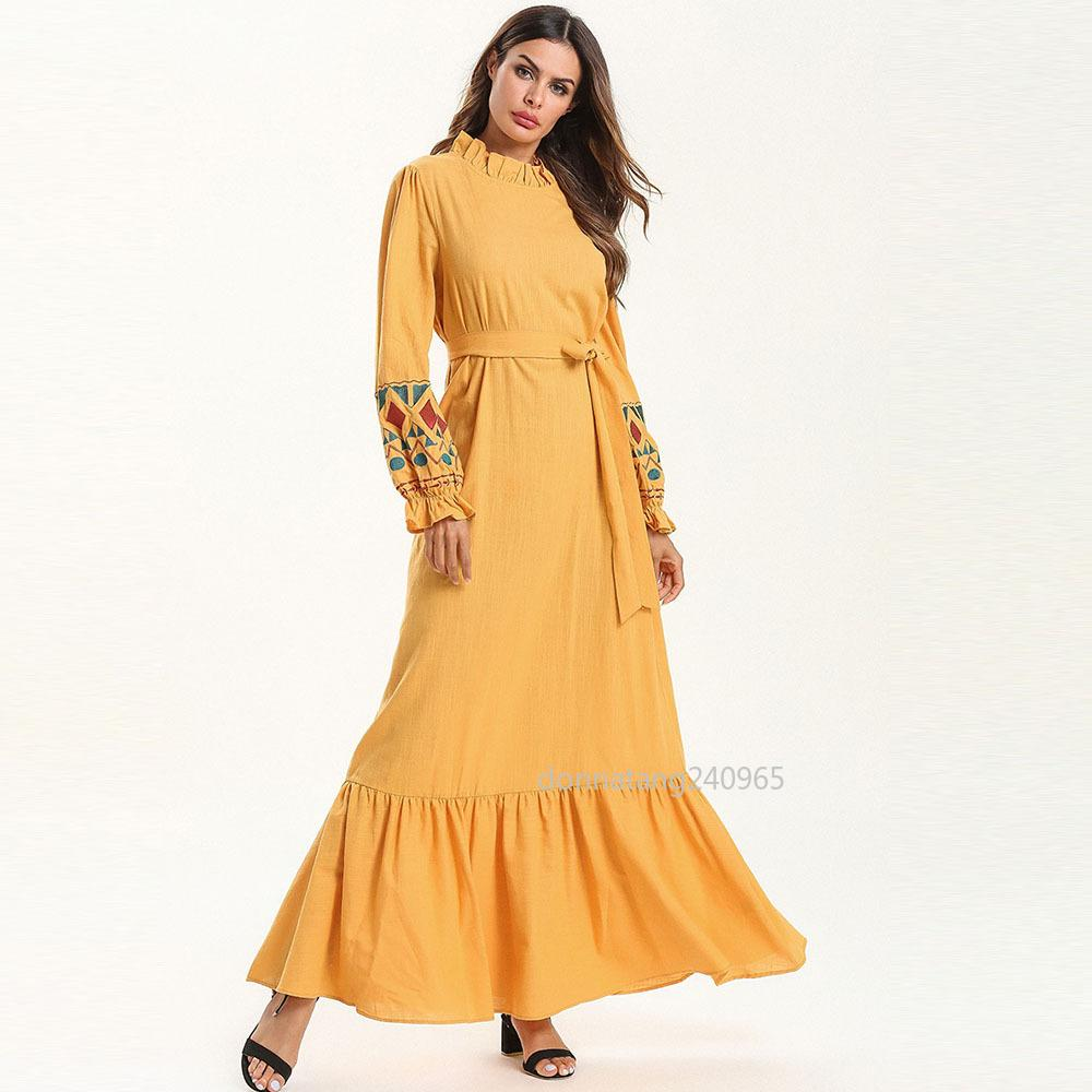 7525 Women Abaya Dubai Yelllow Muslim Maxi Dress Kaftan Turkish Islamic  Caftan Plus Size Clothing Long Bandage Dress Embroidery Robe Online with ... 8beefa7c63f2