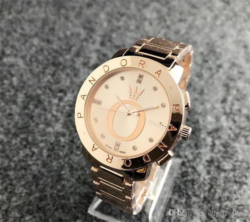 f33bf2b96ad1 Compre Nuevos Hombres Diamante Reloj De Pandora Reloj De Pulsera De Acero  Inoxidable De Lujo Relojes De Cuarzo De Acero Mk Dz Dw Mujer Reloj De Marca  Envío ...