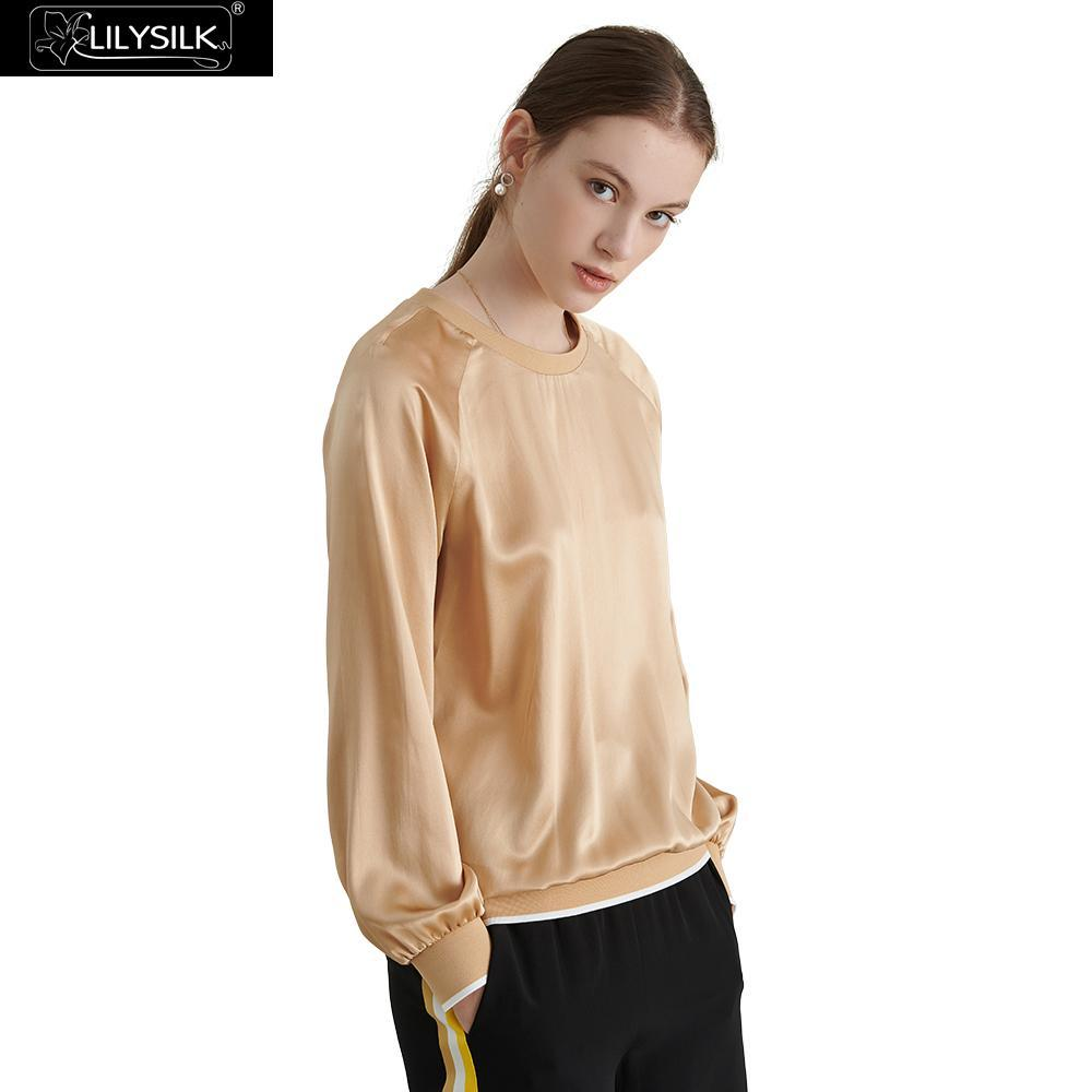 LilySilk Top Women Silk Daily Round Neck Ladies New Blouses   Shirts ... d19696caf498