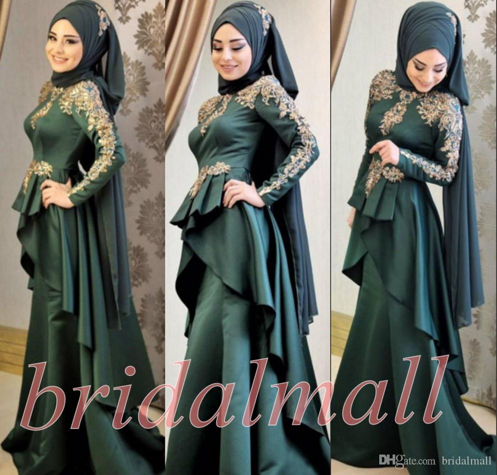 African 2019 New Long Sleeves Muslim Evening Dresses Applique Satin Formal Party Gowns Hijab Islamic Dubai Kaftan Arabic Mermaid Prom Dress