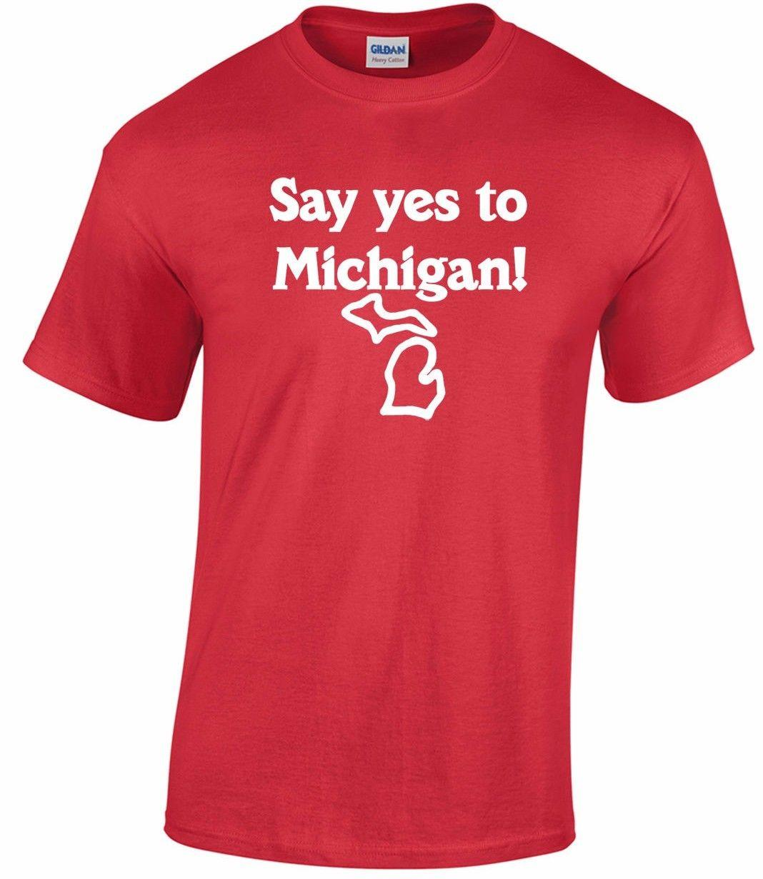 459233c0af877f SAY YES TO MICHIGAN T-shirt white jack stripes vintage 70's detroit punk  mc5 doaFunny free shipping Unisex top