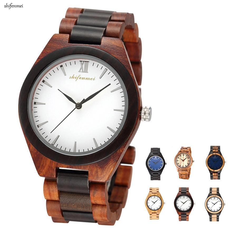 916b2a7a7994 Compre Moda Casual Cuarzo Relojes Para Hombres Material De La Caja Reloj De  Madera Negro Vario Color Beige Banda Color Reloj De Pulsera Digital Para  Hombres ...