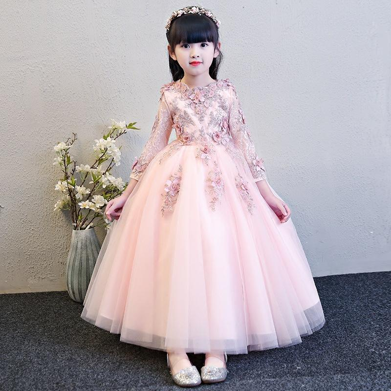 2019 Appliques Tulle Flower Girl Party Dress Ball Gown Scoop Puffy Little Girls First Holy Comunione Abiti in pizzo Pageant Abiti per ragazze