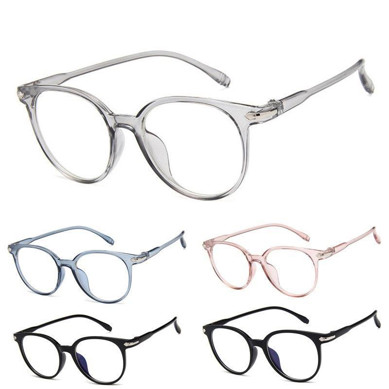 763c41cde B Korean Oval solid color women's glasses Retro fashion female's glasses  Plain Mirror Reading Glass F8 for Unisex